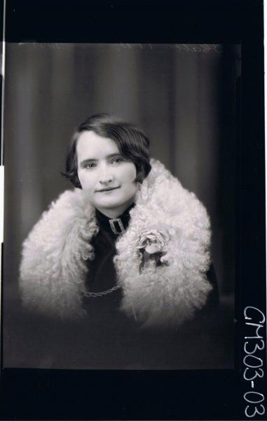 H/S Portrait of woman wearing wool stole with rose; 'Screen'