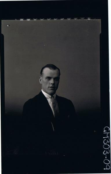H/S Portrait of man wearing jacket, shirt and tie; 'Sempie'