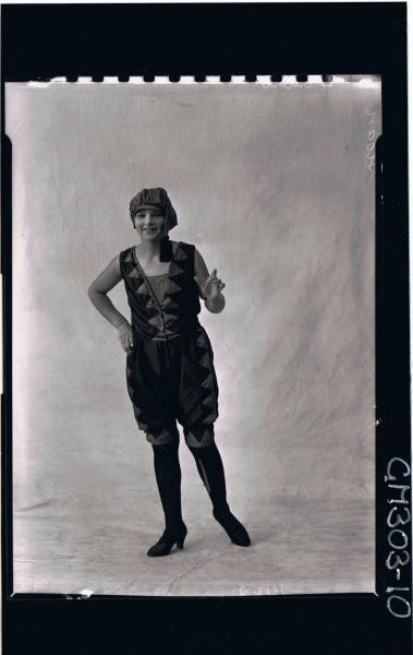F/L Portrait of woman standing wearing fancy dress costume; 'Sloan'