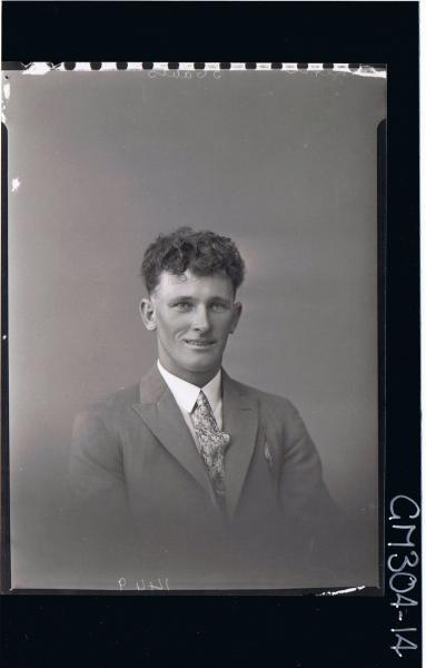 H/S Portrait of man wearing jacket, shirt and tie; 'Smith'