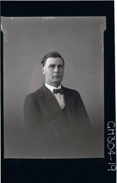 H/S Portrait of man wearing three piece suit, bow-tie. 'Simpson'