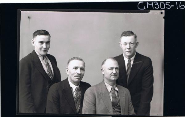 1/2 Group Portrait of two men seated, two men standing, all wearing suits; 'Malling'