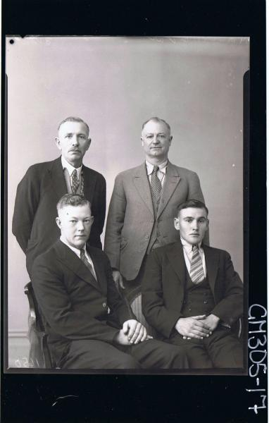 3/4 Group Portrait of two men seated, two men standing, all wearing suits; 'Malling'