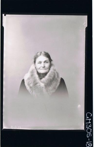 H/S Portrait of elderly woman wearing fur around neck, (passport) 'McEvoy'