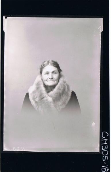 H/S Portrait of elderly woman wearing fur around neck, (passport) 'McEvoy'