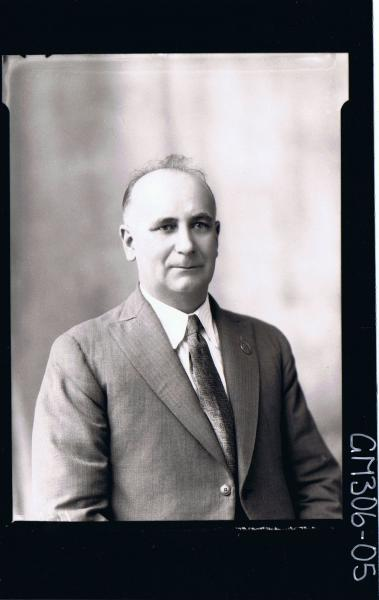 H/S Portrait of man wearing shirt, jacket and tie; 'Massey'