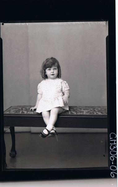 F/L Portrait of girl child seated, wearing short dress; 'Morey'