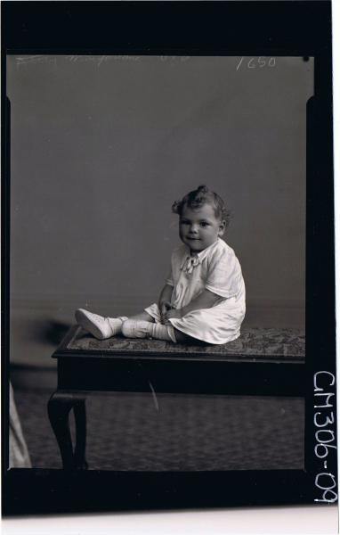 F/L Portrait of baby seated wearing short dress; 'MacFarlane'