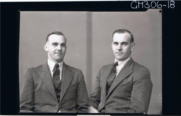 Two H/S Portraits of man wearing shirt, jacket & tie 'M. C. Ville'