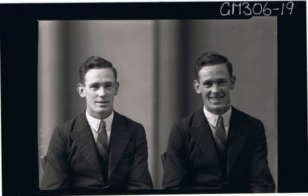 Two H/S Portraits of man wearing shirt, jacket & tie; 'Marshall'