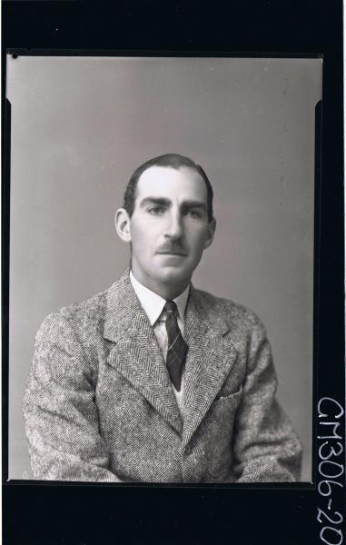 H/S Portrait of man wearing shirt, tie, jacket; 'McImon' ?