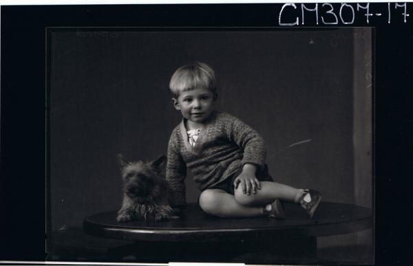 F/L Portrait of small boy seated on table wearing jumper, shorts, sandals, dog lying on table next to boy; 'Stacey'