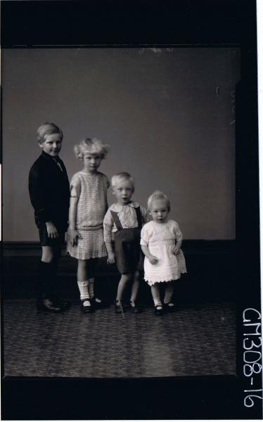 F/L Group Portrait of 4 children standing in row from youngest to eldest; 'Sarich'