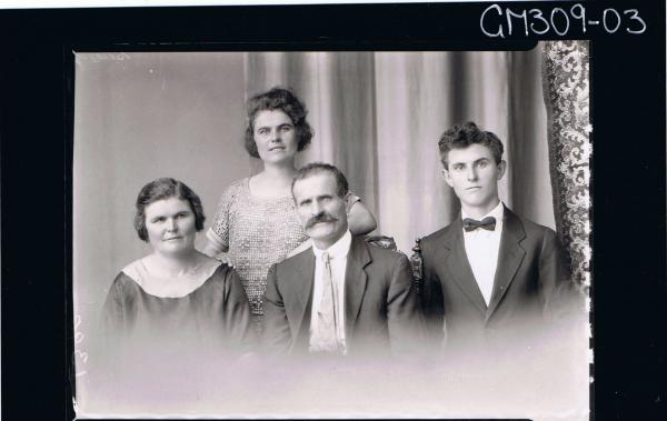 H/S Group Portrait of elderly man, elderly lady, young mand and young lady; 'Sain'