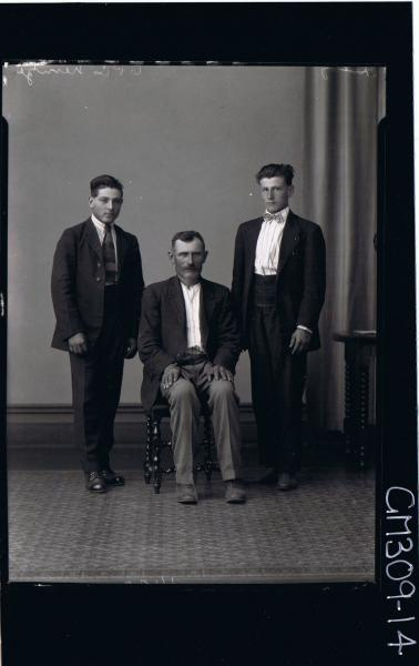 F/L Portrait of man seated, two young men standing all wearing suits; 'Nenzi'