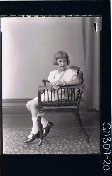 F/L Portrait of girl seated wearing short dress (side view) 'Matheson'