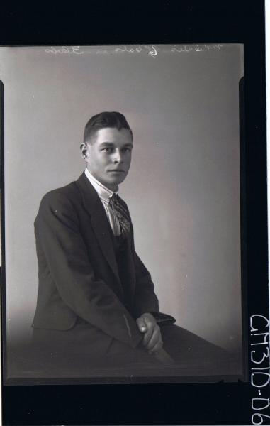3/4 Portrait of man seated wearing three piece suit (side view) 'Mr Gates'