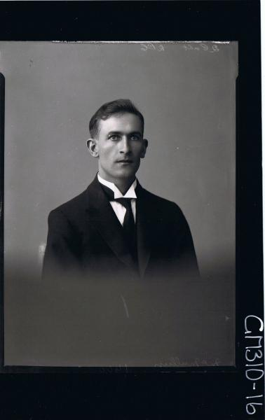 H/S Portrait of man wearing shirt, tie, jacket; 'McMullun'