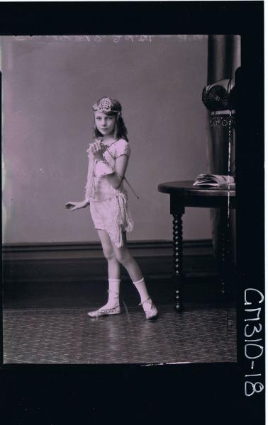 F/L Portrait of girl standing wearing fancy dress costume arranged for photograph; 'McLeod'