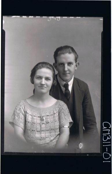 1/2 Portrait of man wearing three piece suit, woman wearing crochet dress; 'McIntyre'