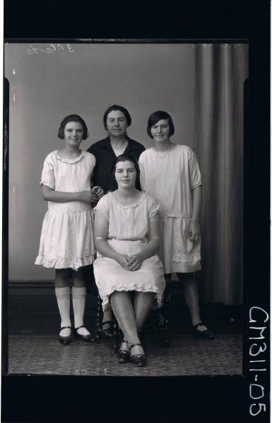 F/L Portrait of woman seated,woman standing both wearing knee length dress, teenage girl, H/S elderly lady; 'Neilson'