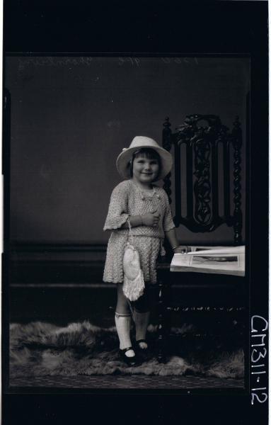 F/L Portrait of girl standing wearing short crochet dress, hat, handbag over arm 'Thornbury'