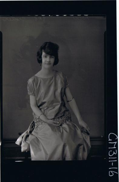 3/4 Portrait of woman seated wearing satin dress 'Trotter'