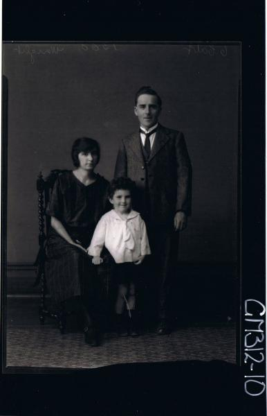 F/L Portrait of man standing wearing 3 piece suit,woman seated wearing 3/4 length day dress, boy standing 'Wright'