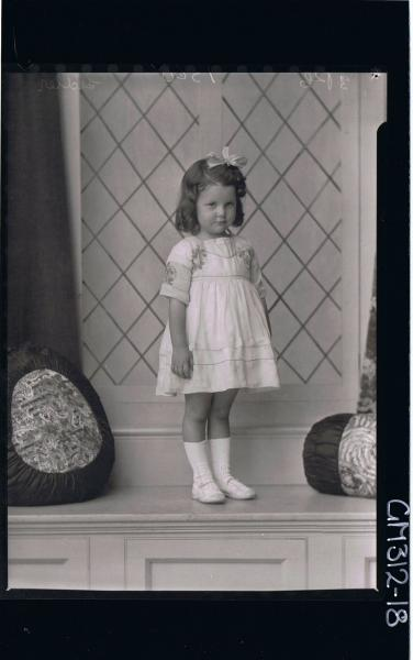 F/L Portrait of girl child, standing wearing short dress and ribbon in hair 'Sidler'