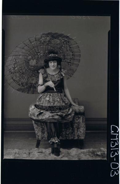 F/L Portrait of woman seated wearing fancy dress costume holding open parasol 'Smith'