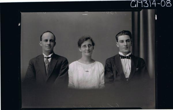 1/2 Portrait of two men wearing suits, woman wearing lace dress 'Taylor'