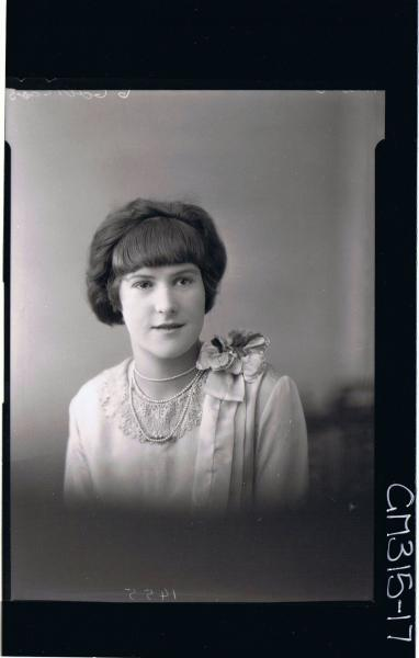 H/S Portrait of woman wearing dress with lace collar, flower on shoulder 'Muir'
