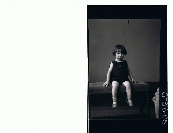 F/L Portrait of girl child seated wearing short dress 'McPherson'