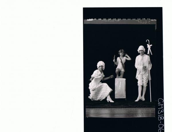 F/L Portrait of young man standing,young lady kneeling,girl kneeling on box, all in fancy dress costume; 'McCahon'