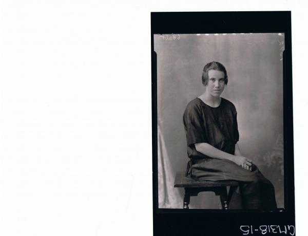 3/4 Portrait of woman seated wearing day dress 'Sutherland'