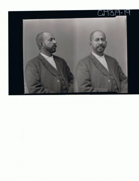 Two 1/2 Portraits of man wearing shirt, vest, jacket, portrait on left is side view 'Sham'