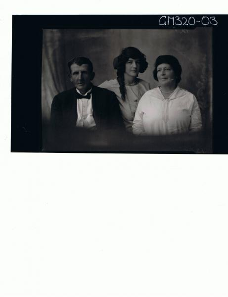 1/2 Portrait of elderly man wearing suit and bow tie, with elderly lady and a young woman 'Scott'