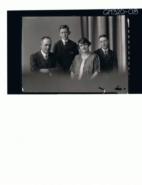 1/2 Family portrait of elderly man, wearing suit, elderly woman, teenage boy standing 'Smith'