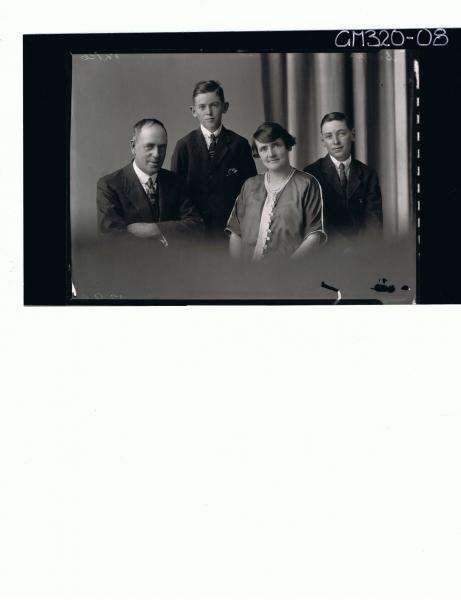 1/2 Family portrait of elderly man, wearing suit, elderly woman, teenage boy standing 'Smith'