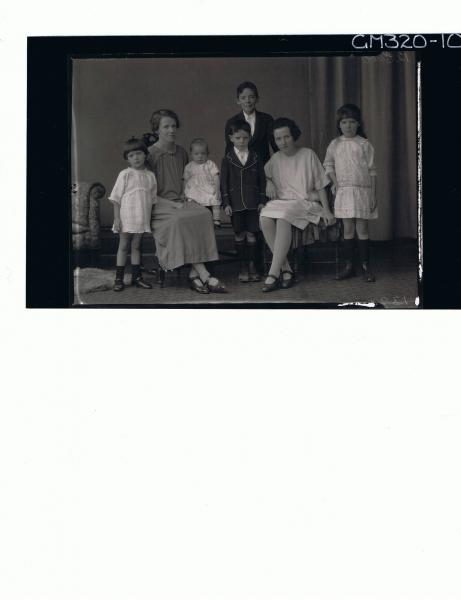 F/L Family Portrait of woman, teenage girl and baby seated, two girls and two boys standing 'Silva'