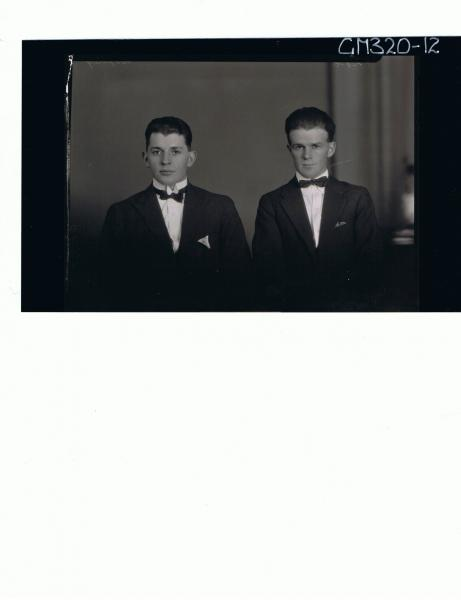 1/2 Portrait of two young men wearing three piece suits and bow ties 'Softley'