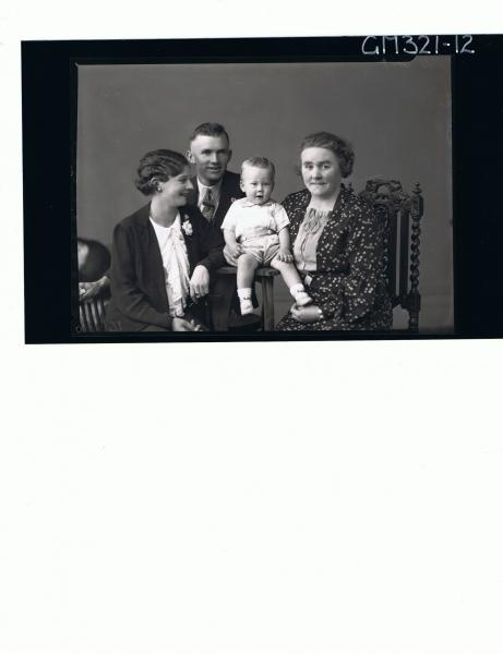 1/2 Group Portrait of woman seated wearing floral dress, woman seated, man sitting, baby seated; 'Mitchell'
