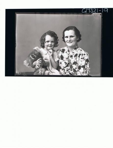 1/2 Portrait of woman wearing floral day dress, girl holding koala bear; 'McGowan'