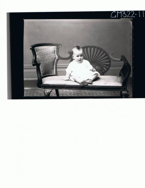 F/L Portrait of baby seated wearing dress; 'Moyle'