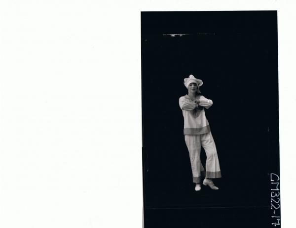 F/L Portrait of woman standing wearing sailor fancy dress costume; 'Sloane'