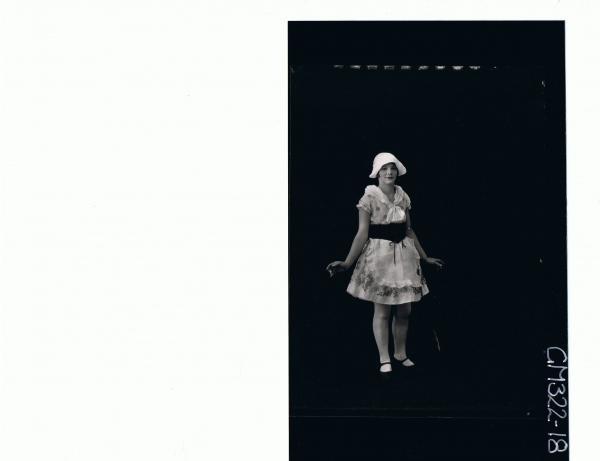F/L Portrait of woman standing wearing Dutch fancy dress costume; 'Sloane'