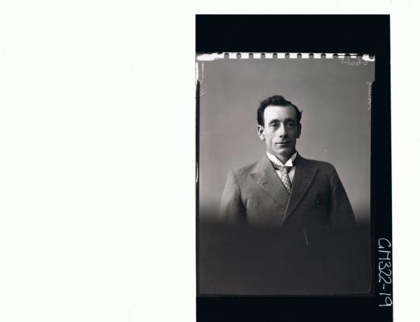 H/S Portrait of man wearing shirt & tie and jacket; 'Smith'