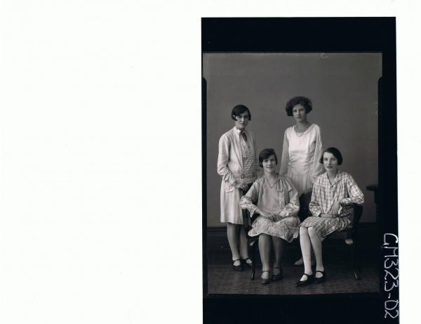 F/L Portrait of two teenage girls seated wearing knee length dresses, two teenage girls standing wearing same; 'Scott'
