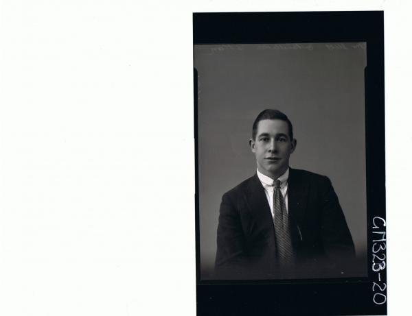 H/S Portrait of young man wearing shirt, tie and jacket; 'Stott'