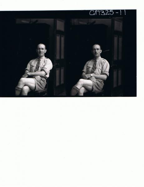Two 3/4 Portraits of man seated wearing shorts, shirt and tie; 'Lewis'